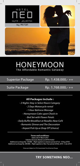 Flyer paket HONEYMOON NEO Kuta - Jelantik