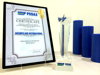 "Certificate of Excellence 2013 ""Loyalty of Brand"" dari Pegas Touristik untuk Archipelago International"