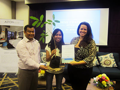 Seen in the image from left to right : Mr. Doddy Fathurahman as General Manager Aston Anyer Beach Hotel, Ms. Jessica as one of the media representatives, and Ms. Tenaiya Brookfield as VP Sales & Marketing Archipelago International during the symbolic submission for tree plantation at Anyer's local conservation area.