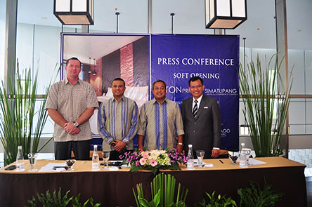 Seen in the image from left to right : Mr. John Flood as President & CEO of Archipelago International, Mr. Kadafi Yahya as President Director of PT. Nusa Pratama Property, Mr. M. Andy Arslan Djunaid as one of the shareholder of PT. Nusa Pratama Property and Mr. Ainur Rofik Mustamar as General Manager of Aston Priority Simatupang Hotel & Conference Center.