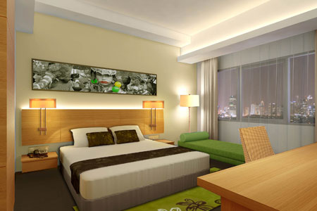 Seen in the picture - Deluxe Room of Aston Solo Hotel, Solo - Central Java.