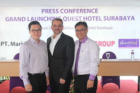 Seen in the image - From left to right Mr. Sugiarto Alim as President Director of PT. Marindo Surya, Mr. Norbert Vas as Vice President of Business Development and Operations, and Mr. Suwarjono as General Manager of Quest Hotel Surabaya.