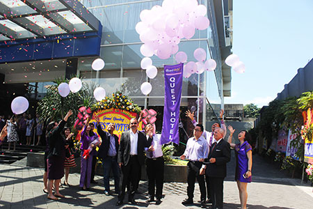 Seen in the image - Balloon released to mark The Grand Opening of Quest Hotel Surabaya done by Mr. Sugiarto Alim, Mr. Norbert Vas and Mr. Suwarjono.