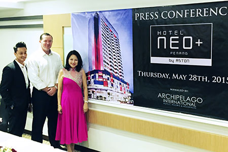 Seen in the image - Left to Right : Mr. Melvin Ooi as General Manager of Hotel NEO+ Penang - Malaysia, Mr. John Flood as President & CEO of Archipelago International and Mrs. Sharon Ooi – Board of Director of Hotel NEO+ Penang - Malaysia during the Press Conference.