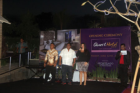 Seen in the image : Soft Opening Ceremony of Quest San Hotel Denpasar, from left to right : Mr. Nyoman Budhiwijaya - General Manager of Quest San Hotel Denpasar, Mr. Agus Suryadyana - Owner of Quest San Hotel Denpasar, Ms. Tenaiya Brookfield - VP Sales & Marketing of Archipelago International.