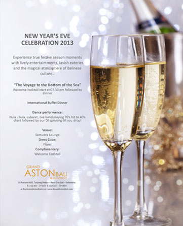 Information of New Year's Eve Celebration at Grand Aston Bali