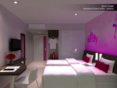 Seen in the image - Twin room of favehotel Zainul Arifin Jakarta