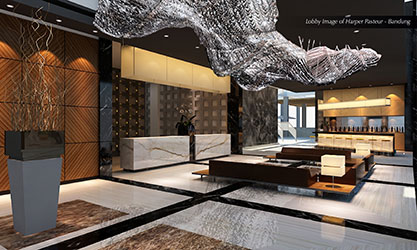 Seen in the image - Lobby Lounge of Harper Pasteur - Bandung