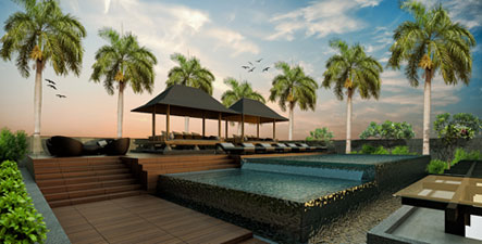 The Rooftop Swimming Pool, Bar & Gazebo at NEO Kuta - Tuban, Bali